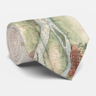 Vintage Map of The Savannah River (1855) Tie