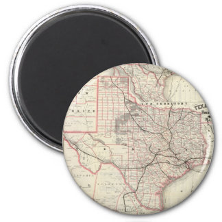 Vintage Map of The Texas Railroad System (1885) Magnet