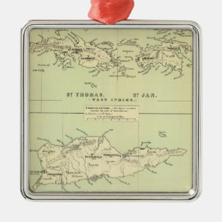Vintage Map of The Virgin Islands (1853) Silver-Colored Square Decoration
