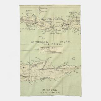 Vintage Map of The Virgin Islands (1853) Tea Towel