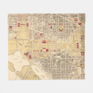 Vintage Map of The Washington D.C. Mall (1917) Fleece Blanket