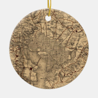 Vintage Map of The Washington DC Area (1865) Christmas Ornament