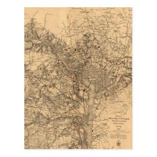 Vintage Map of The Washington DC Area (1865) Postcard