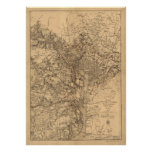 Vintage Map of The Washington DC Area (1865) Poster
