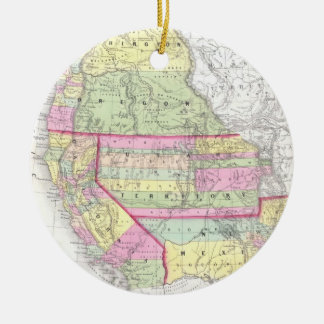 Vintage Map of The Western United States (1853) Christmas Ornament