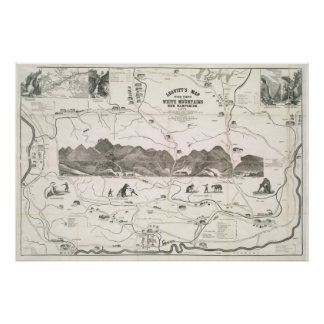 Vintage Map of The White Mountains (1871) Poster