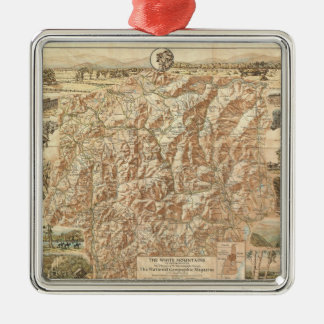 Vintage Map of The White Mountains (1937) Christmas Ornament