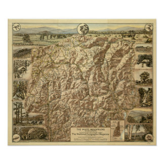 Vintage Map of the White Mountains New Hampshire Poster