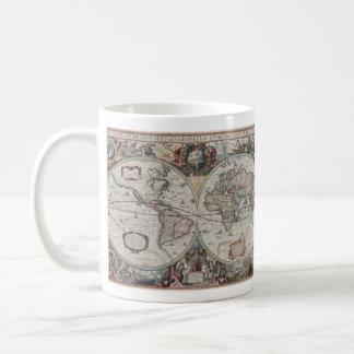 Vintage Map of The World (1630) Basic White Mug