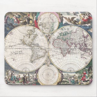 Vintage Map of The World (1685) Mousepads