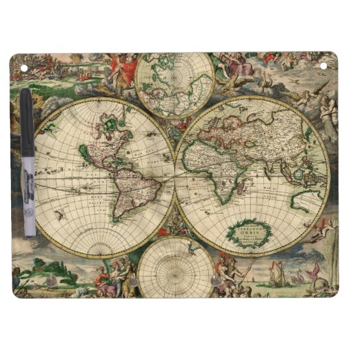 Vintage Map of The World 1689 Dry Erase White Board Zazzle
