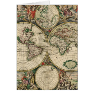 Vintage Map of The World (1689) Greeting Card