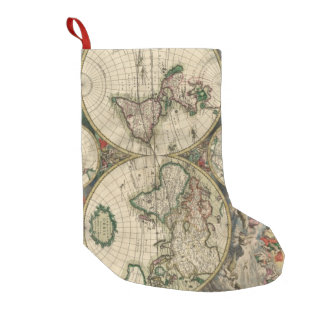 Vintage Map of The World (1689) Small Christmas Stocking