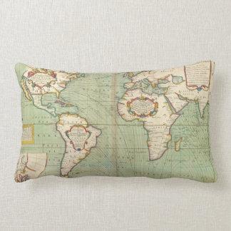 Vintage Map of The World (1702) Lumbar Cushion