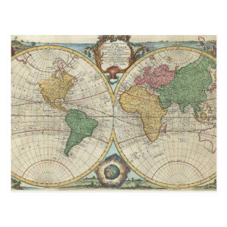 Vintage Map of The World (1744) Postcard