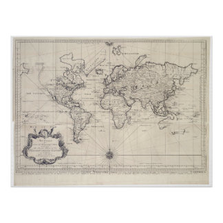 Vintage Map of The World (1750) Poster
