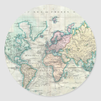 Vintage Map of The World (1801) Classic Round Sticker