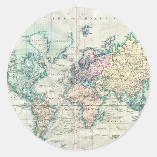 Vintage Map of The World (1801) Round Sticker