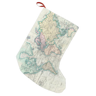 Vintage Map of The World (1801) Small Christmas Stocking