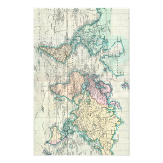 Vintage Map of The World (1801) Stationery