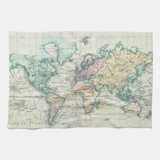 Vintage Map of The World (1801) Tea Towel