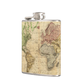 Vintage Map of The World (1831) Hip Flask