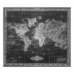Vintage Map of The World (1833) Black & White Poster