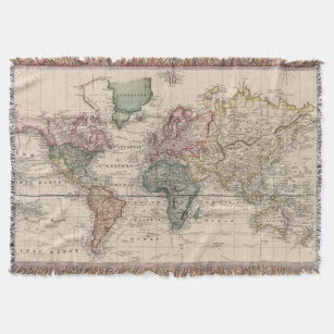 Old world map blankets bed blankets zazzle uk vintage map of the world 1833 throw blanket gumiabroncs Image collections