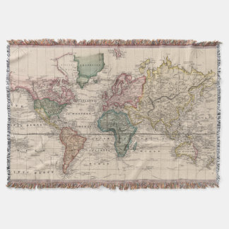 Vintage Map of The World (1833) Throw Blanket