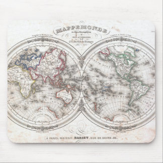 Vintage Map of The World (1848) Mouse Pad