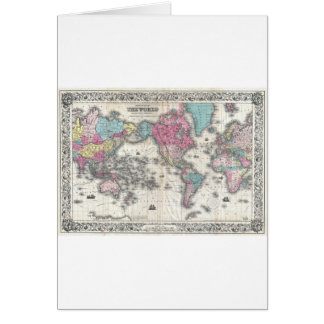 Vintage Map of The World (1852) Greeting Card