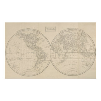 Vintage Map of The World (1857) Poster
