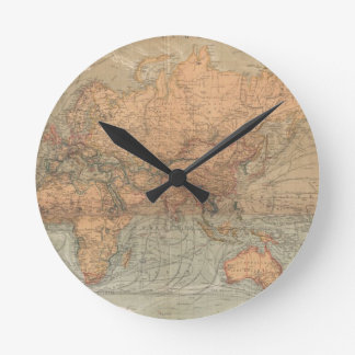 Vintage Map of The World (1870) Round Clock