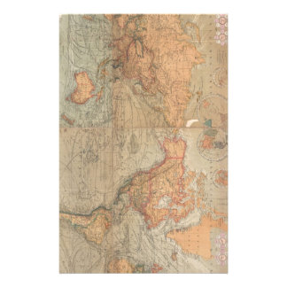 Vintage Map of The World (1870) Stationery