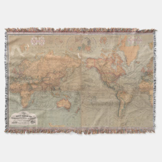 World map blankets bed blankets zazzle vintage map of the world 1870 throw blanket gumiabroncs Image collections