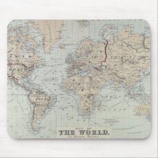 Vintage Map of The World (1875) Mouse Pad