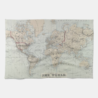 Vintage Map of The World (1875) Kitchen Towel