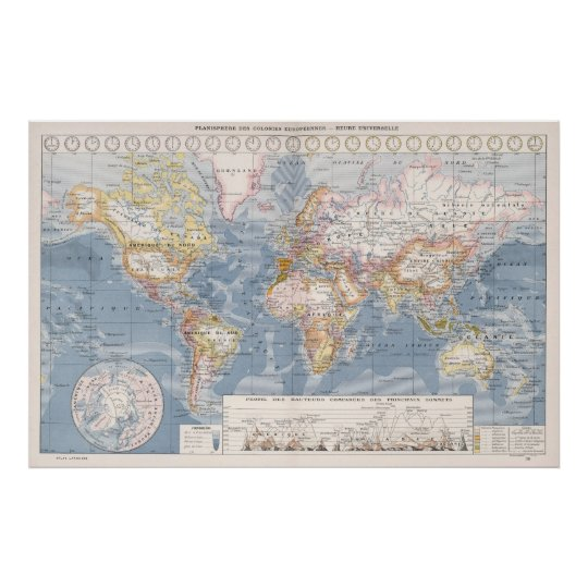 Vintage Map Of The World 1900 Poster Zazzle Co Uk
