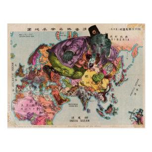 Vintage Map of the World Around 1900 Postcard