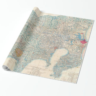 Vintage Map of Tokyo and Mt. Fuji Japan (1843) Wrapping Paper
