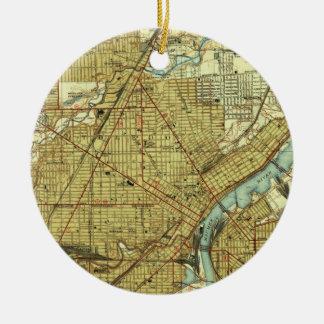Vintage Map of Toledo Ohio (1938) Christmas Ornament