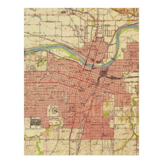 Vintage Map of Topeka Kansas (1951) Poster