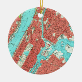 Vintage Map of Uptown Manhattan & The Bronx (1956) Christmas Ornament