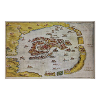 Vintage Map of Venice (1649) Print