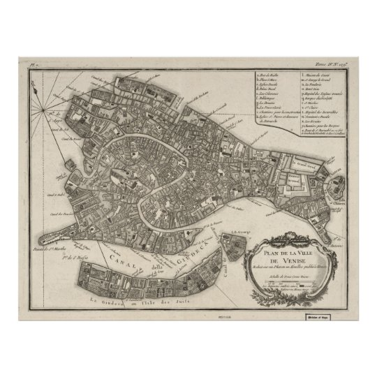 Vintage Map of Venice Italy (1764) Poster