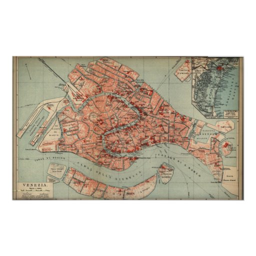 Vintage Map of Venice Italy (1920) Posters