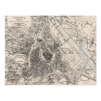 Vintage Map of Vienna Austria (1906) Postcard