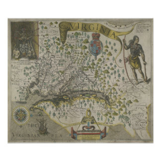 Vintage Map of Virginia (1618) Poster