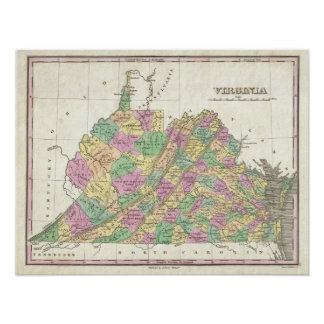 Vintage Map of Virginia (1827) Poster