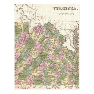 Vintage Map of Virginia (1838) Postcard
